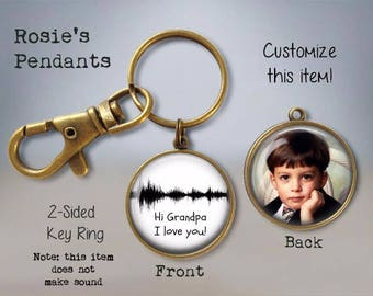 Geek Dad Gift - Your Child's Vocal WAVEFORM Image and PHOTO - Waveform Double-sided Keychain - Personalized Soundwave - Sound Wave Keychain