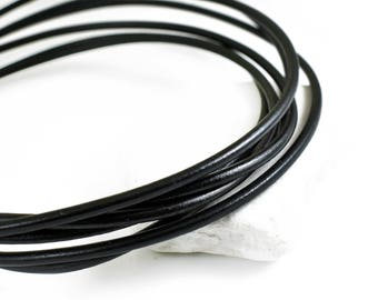 Leather Cord 4mm, Black Greek Leather Cord, Necklace Cord, Jewelry Supplies, 1 meter