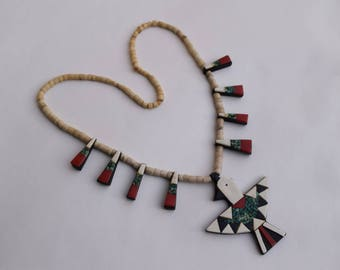 Santo Domingo vintage Thunderbird necklace RARE Native American made collectible jewelry Santo Domingo Pueblo New Mexico Kewa