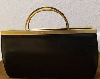 Vintage CHARLES JOURDAN Black Gold Handle Clutch Handbag with detachable shoulder strap