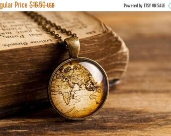 20% OFF Antique map necklace, vintage map necklace, antique brass necklace, vintage map pendant, antique man pendant, glass dome pendant, gi