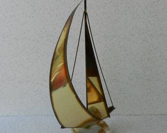 Vintage Metal Sailboat Sculpture, Signed Mario Jason, Beach or Nautical Decor, Sailing, Bronze and Brass