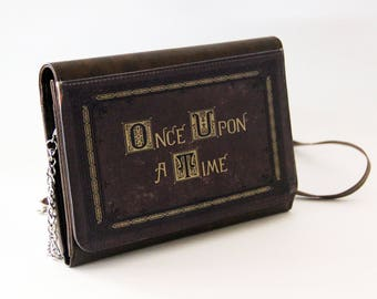 Once Upon A Time Fairytale Storybook Purse Faux Leather Handbag Bookish Gift