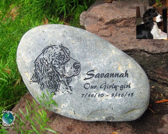 Pet Portrait Memorial Stone 7in-9in - Custom Hand Engraved Pet Memory Stone to Honor Your Four Legged Family Members