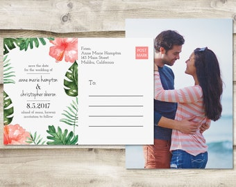 Island Save The Date Postcard, Destination Save the Date,  Tropical Save the Date, Hawaiian Save the Date, Save the Date Tropical