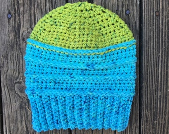 Beanie in Light Blue & Green // Willow Beanie // Ready To Ship