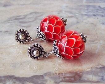 Red Chrysanthemum. Handmade Lampwork Earrings 3,2 cm. Lotus Lampwork Earrings. Sterling Silver Earrings. Red Flower Lampwork Earrings.