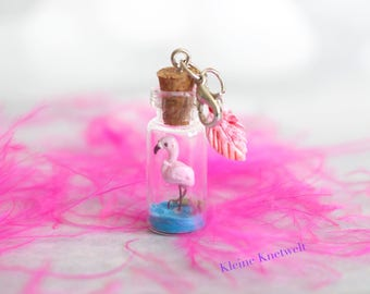 Flamingo Charm Miniature Glass Bottle Pendant polymer clay jewelry