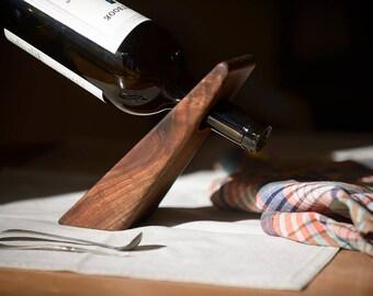 READY TO SHIP! Balancing Walnut Wine Bottle Holder