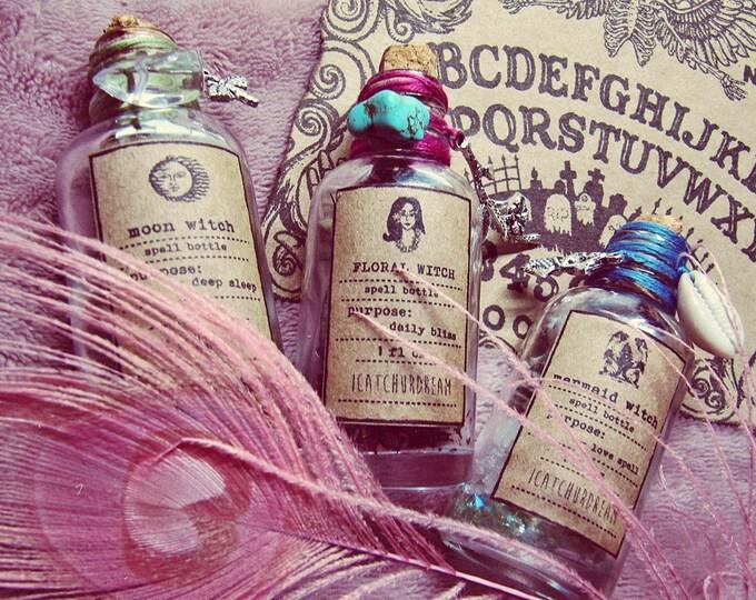 Spell Bottles Gift Set - Apothecary Bottles Set - Magic Altar Kit - Boho Witch Decor - Pagan Altar Tool - Herbs Aromatherapy - Boho Decor