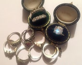 Paste Rhinestone Ring Lot, Vintage, Wholesale, Stone Salvage, Clearance Lot, 12 Rings