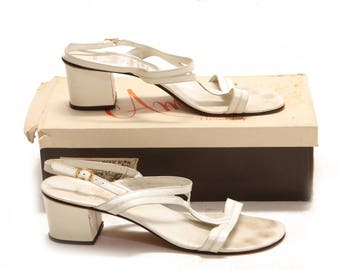1960s White Strappy Thick Heel Sandal High Heels by Amalfi - Size 9 1/2