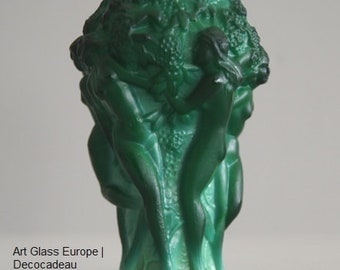 Bohemian Malachite Press glass vase, Curt Schlevogt, Gablonz.