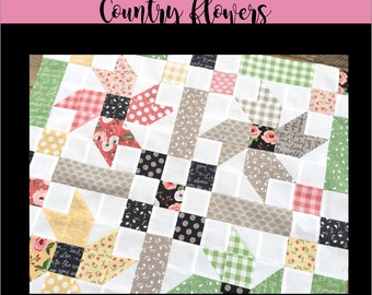 Country Flowers Digital PDF Quilt Pattern, Wall hanging, Table Quilt