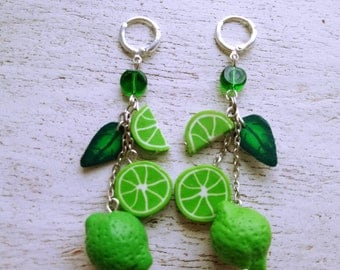 Lime Earrings with lime Green lemon Earrings with lemon Long earrings with lime Long earrings with lemon Earrings with fruits Silver 925