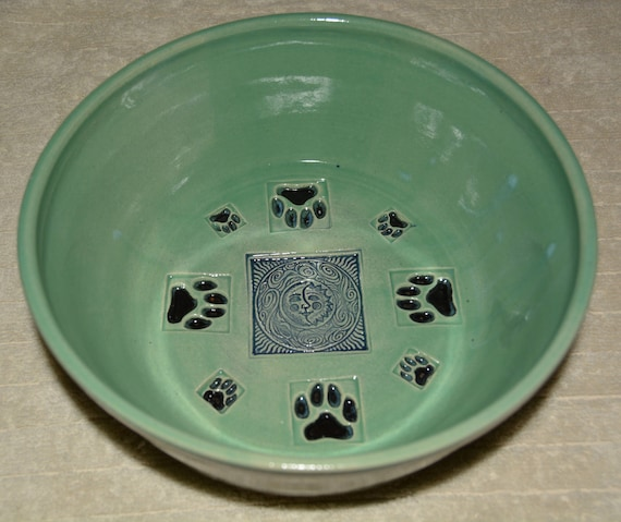 Pet Bowl, Dog Bowl, Water Bowl, Turquoise, Black Paw Prints, Blue Sun Moon, Stoneware,