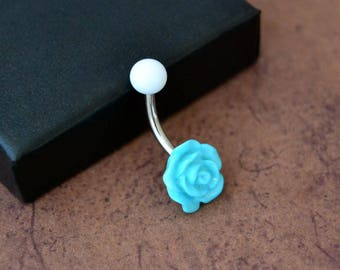 Little Turquoise Flower Belly Button Ring, Rose Belly Button Ring, Short Navel Ring, Surgical Steel 14G 14gauge Belly Barbell