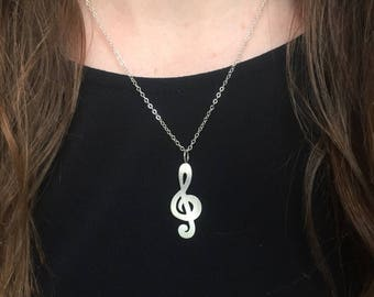 Treble Clef Music Silver Pendant Necklace