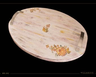 Handmade Spruce Wood Tray with Floral Design. Serving Tray. Decorating Tray. Vanity Tray