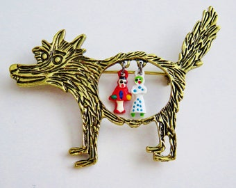 Whimsical Vintage Little Red Riding Hood Big Bad Wolf Brooch Pin
