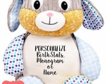 Personalized Bunny Stuffed Animal, Personalized Baby Gift , Birth Announcement Gift, Baby Shower Gift, Cubbie, Custom, Stuffy