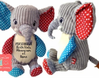 Personalize elephant etsy personalized elephant stuffed animal personalized baby gift birth announcement gift baby shower gift negle Choice Image