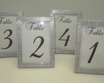 5 x 7 (5) Table Frames with Silver Rhinestone. Wedding, Baby shower, Bridal shower, Quinceñera or special event. Table #'s not included