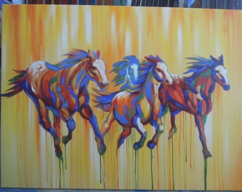 """Horses painting oil painting on canvas 36""""X48"""""""