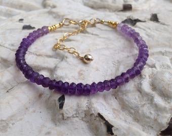 Bracelet *Ombre* Améthyste qualité AAA, palette de mauve, parme, violet, perles tribales argent massif or 24K sur argent, gold filled, Boho
