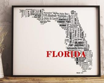Florida Map Art, Florida Art Print, Florida City Map, Florida Typography Art, Florida Wall Decor, Florida Moving Gift