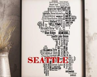 Seattle Map Art, Seattle Art Print, Seattle Neighborhood Map, Seattle Typography Art, Seattle Wall Decor, Seattle Moving Gift