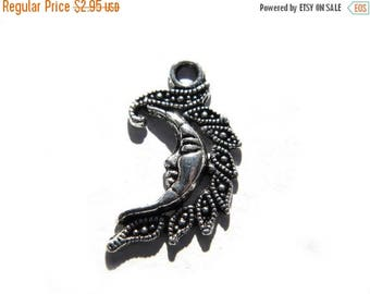 HALF PRICE 10 Silver Crescent Moon Charms - Moon Goddess Charms - Marcasite Style
