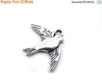 HALF PRICE 10 Silver Bird Charms - Swallow