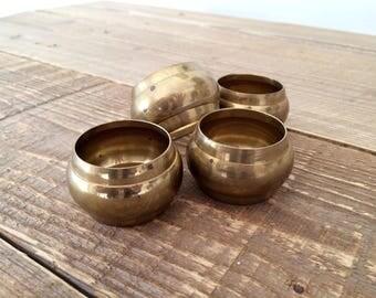 Set of 4 Turned Brass Napkin Rings