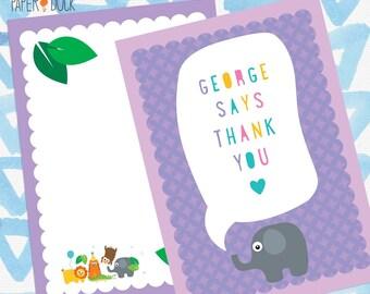 8 X Personalised Jungle Safari Animal Thank You Mini Note Card Stationary ELEPHANT Monkey TIGER Lion