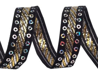 Velvet and black satin ribbon embroidered with sequins gold 15 mm 420778