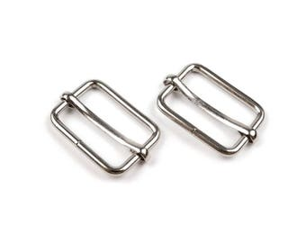 2 loops adjustable 20 mm rectangle silver tone