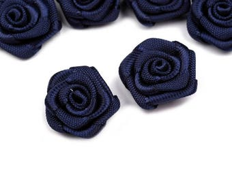 10 small flowers Pink Blue Navy Satin 15 mm