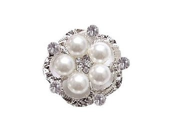 button pearls and rhinestones 22 mm