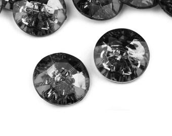 5 buttons 25 mm gunmetal grey Crystal