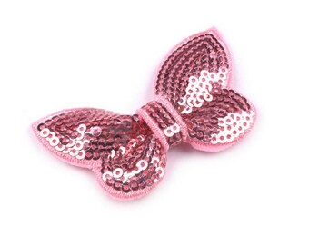 4 bow in pink sequins 40 x 70 mm