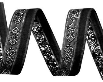 Black velvet and silver lurex 10 mm Ribbon