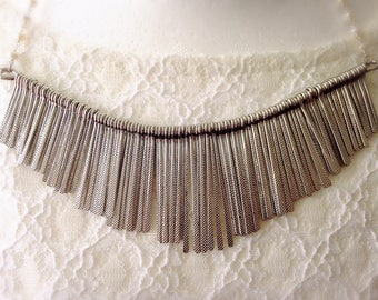 Bib fringe necklace collar silver plated chain figaro silver plated brass tassel