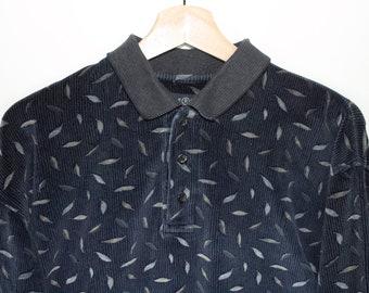 vintage blue velvet long sleeve polo shirt