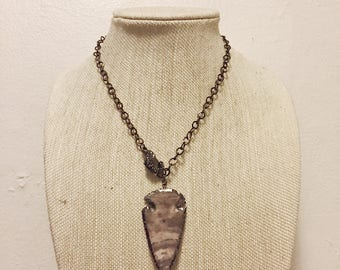 Gunmetal Chain Necklace with Arrowhead Pendant and Pave Clasp