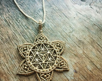 STAR tetrahedron Merkaba Sacred geometry Flower of life necklace Yoga Meditation Necklace, flower of life mandala necklace bohemian