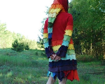 SALE Rainbow Fairy Pixie Elvish Recycled Sweater Gypsy Hippie Boho Pagan Nymph Dryad Woodland Fantasy Hoodie Tunic OOAK Patchwork Hooded Top