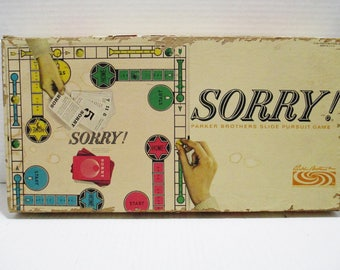 Parker Brothers Vintage 1964 Sorry Board Game Complete Toy Family Fun Made USA