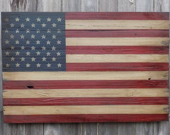 Rustic Wooden American Flag, 23 X 36 inches. Made from recycled fencing. Free Shipping  G