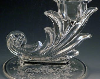 Fostoria Meadow Rose Etched Crystal Short Candle Holder Candlestick Baroque Elegant Depression Glass Vintage Glassware Etch Low